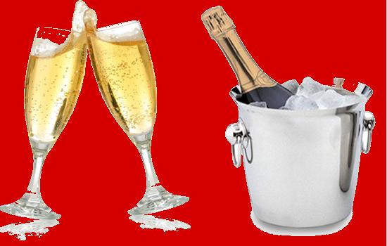champagne et flûtes