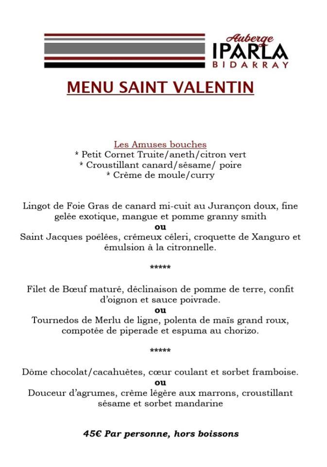 menu st valentin fond blanc écriture noire