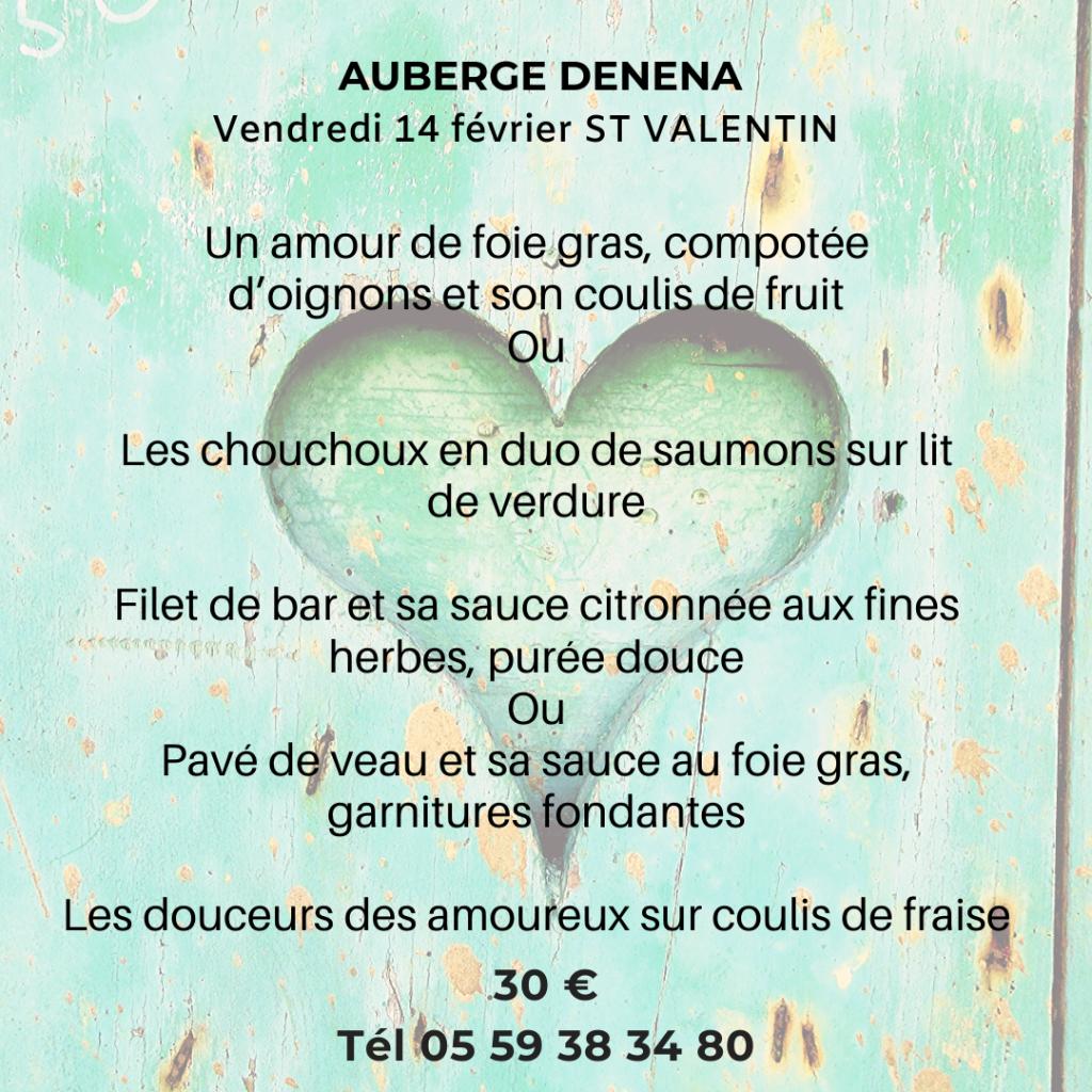 le menu de la st valentin auberge denena en détails avec le prix pour la fête des amoureux