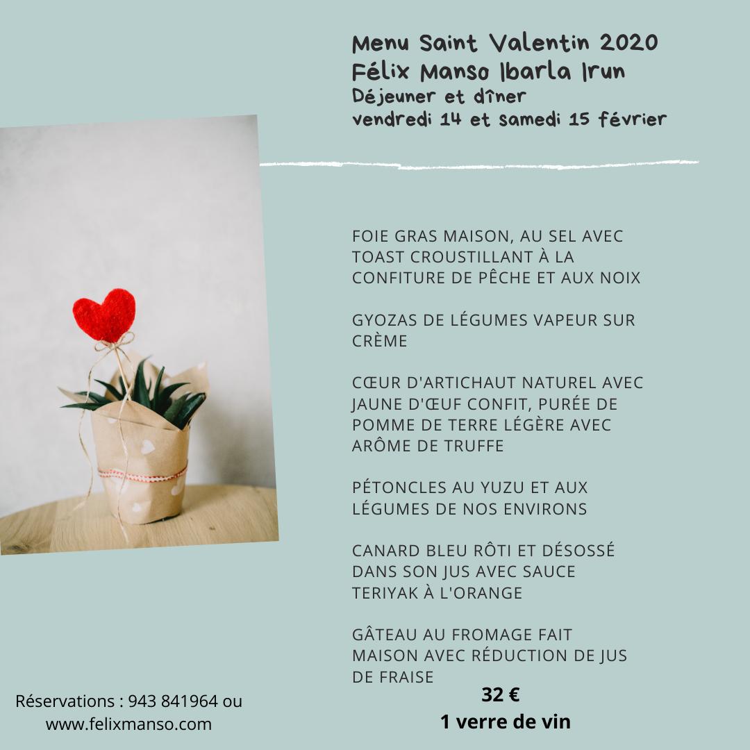 texte du menu de la fête des amoureux st valentin avec une photo d'un coeur chez felix manso ibarla à irun