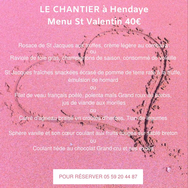 menu écrit sur fond rose avec un coeur pour la st valentin