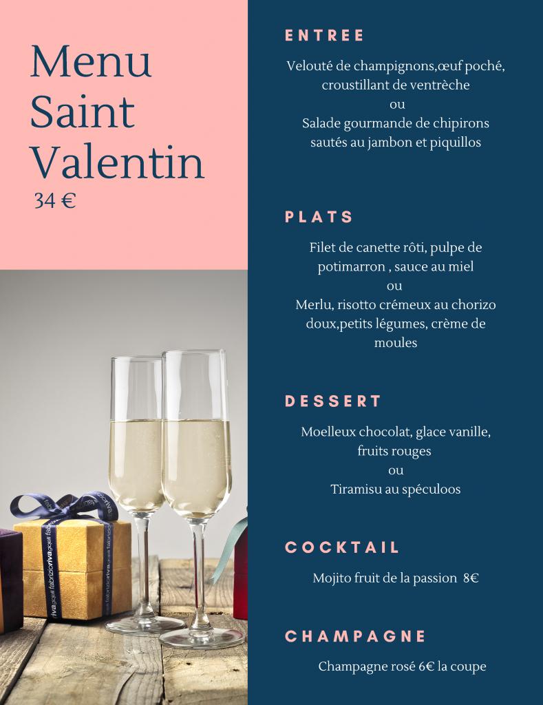 affiche du menu saint valentin fête des amoureux avec le détail du menu et 2 coupes de champagne