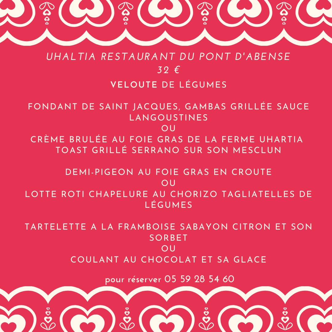 menu fond rouge avec des coeurs blancs et police blanche pour la st valentin