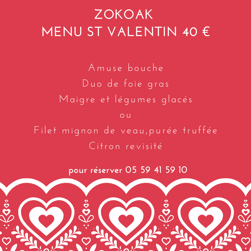 le menu st valentin écriture blanche fond rouge