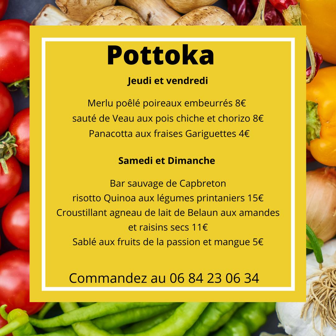 le menu de Pottoka pendant le confinement